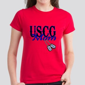 USCG Mom Dog Tag Women's Dark T-Shirt