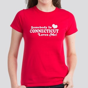 Somebody in Connecticut Loves Me Women's Dark T-Sh