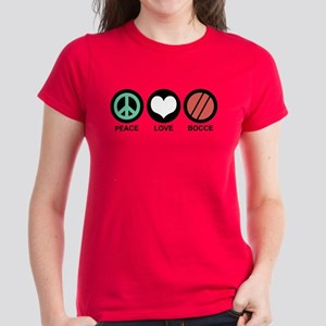 Peace Love Bocce Women's Dark T-Shirt