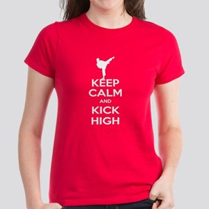 Keep Calm Kick High Girl Women's Dark T-Shirt