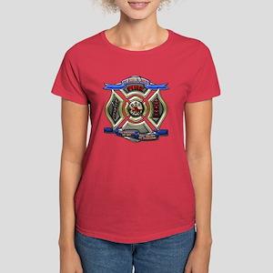 Women's Dark T-Shirt Firefighter Shield