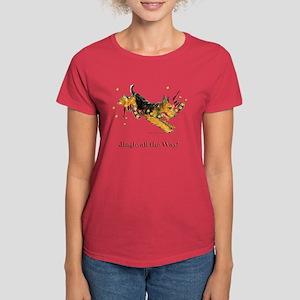 Welsh Terrier Holiday Dog! Women's Dark T-Shirt