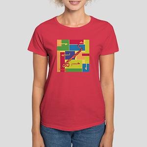 Bass Clarinet Colorblocks Women's Dark T-Shirt