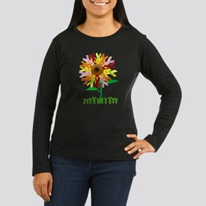 Cancer Ribbon Sunflower Women's Long Sleeve Dark T