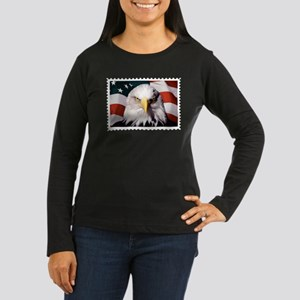 American Bald Eagle with Flag Long Sleeve T-Shirt