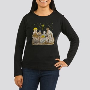Christmas Nativity Women's Long Sleeve Dark Tee