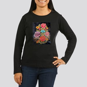 Mexican Embroidery Design Women's Long Sleeve Dark