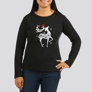 Winter Reindeer Women's Long Sleeve Dark T-Shirt