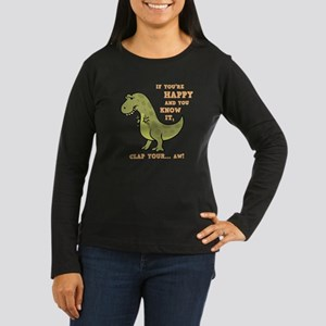 T-Rex Clap II Women's Long Sleeve Dark T-Shirt