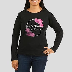 Delta Zeta Floral Women's Long Sleeve Dark T-Shirt