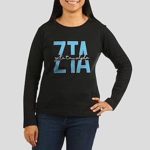 Zeta Tau Alpha Blue Polka Dot Long Sleeve T-Shirt
