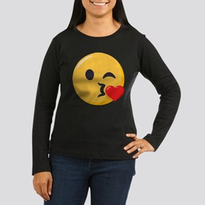 Kissing Emoji Women's Long Sleeve Dark T-Shirt