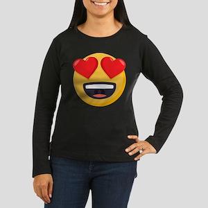 Heart Eyes Emoji Women's Long Sleeve Dark T-Shirt