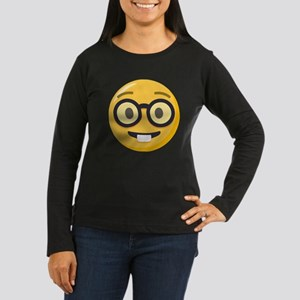 Nerd-face Emoji Women's Long Sleeve Dark T-Shirt