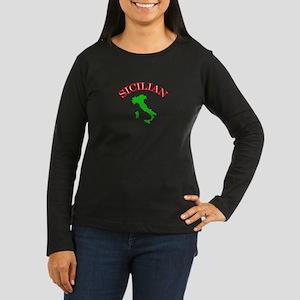 Sicilian Women's Long Sleeve Dark T-Shirt