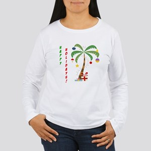 Holiday Palm Tree Women's Long Sleeve T-Shirt