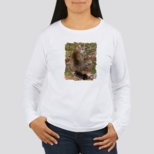 Maine Coon cat Fall leaves Women's Long Sleeve T-S