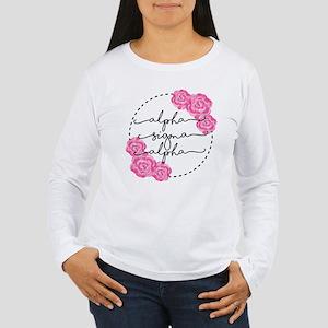 alpha sigma alpha flor Women's Long Sleeve T-Shirt