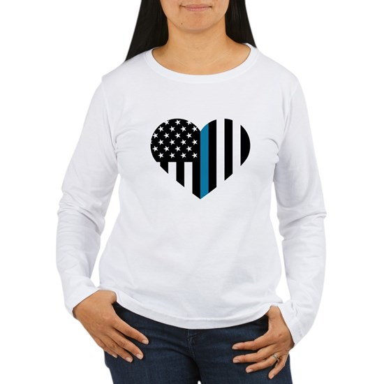 Thin Blue Line American Flag Heart