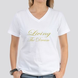 Living the Dream Gold Women's V-Neck T-Shirt