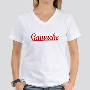 Gamache, Vintage Red Women's V-Neck T-Shirt