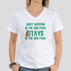 Stays In The Dog Park Women's V-Neck T-Shirt