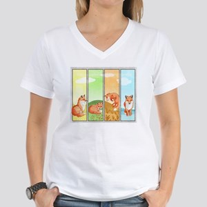 Season Of The Foxes Women's V-Neck T-Shirt