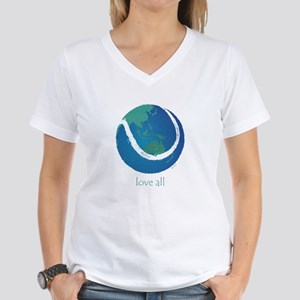 love all world tennis Women's V-Neck T-Shirt