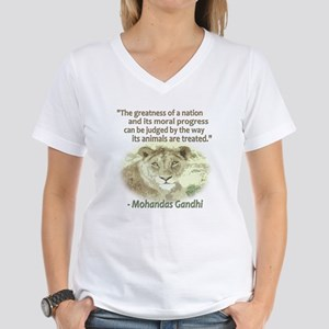 Gandhi Animal Quote ~ Women's V-Neck T-Shirt