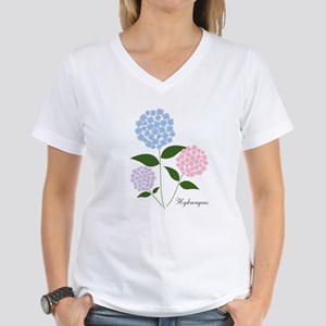 Custom Hydrangea Women's V-Neck T-Shirt
