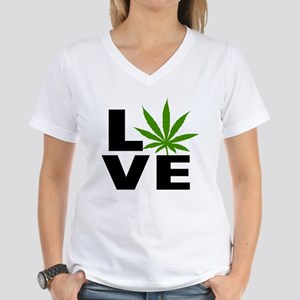 I Love Marijuana Women's V-Neck T-Shirt