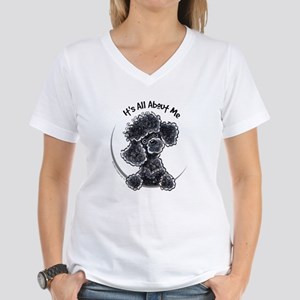 Black Poodle Lover Women's V-Neck T-Shirt