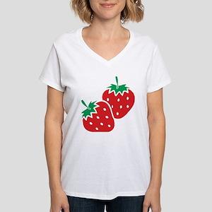 aab572c43 Sweet Strawberries Women's V-Neck T-Shirt