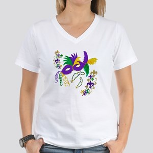 1e9caffc6e6225 Mardi Gras Mask art Women's V-Neck T-Shirt