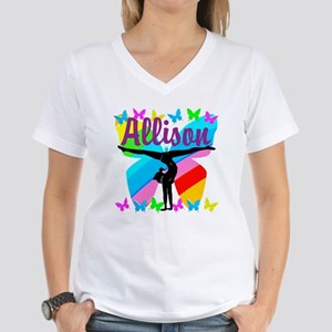 PERSONALIZE GYMNAST Women's V-Neck T-Shirt