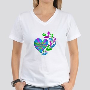 Quilting Happy Heart Women's V-Neck T-Shirt