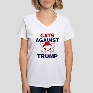 Cats Against Trump Women's V-Neck T-Shirt