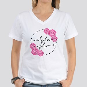 Alpha Phi Floral Women's V-Neck T-Shirt