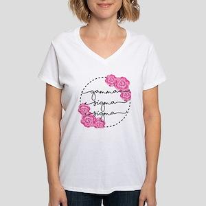 gamma sigma sigma floral Women's V-Neck T-Shirt