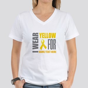 Yellow Awareness Ribbon Cus Women's V-Neck T-Shirt