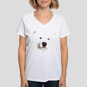 Samoyed Face Women's V-Neck T-Shirt