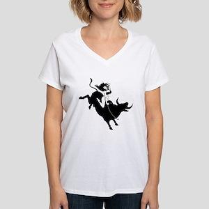 Black Bull Rider Women's V-Neck T-Shirt