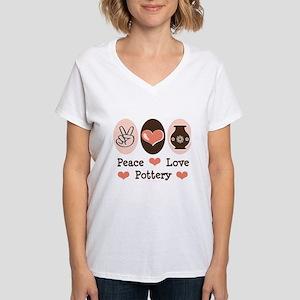 Peace Love Pottery Women's V-Neck T-Shirt