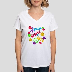 Smile Groovy Love Peace Women's V-Neck T-Shirt