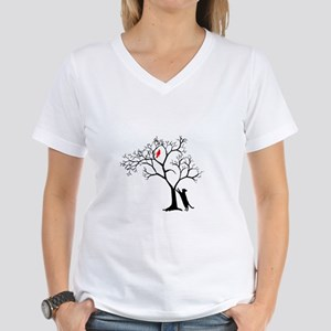 Red Cardinal in Tree with C Women's V-Neck T-Shirt