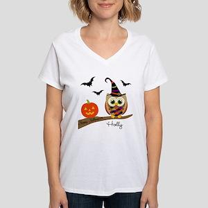 Custom name Halloween owl Women's V-Neck T-Shirt