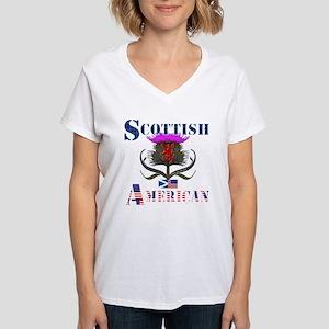 Scottish American Thistle Women's V-Neck T-Shirt
