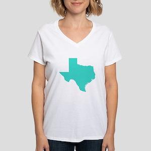 Turquoise Texas Outline Women's V-Neck T-Shirt