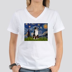 Starry/Australian Shep #2 Women's V-Neck T-Shirt