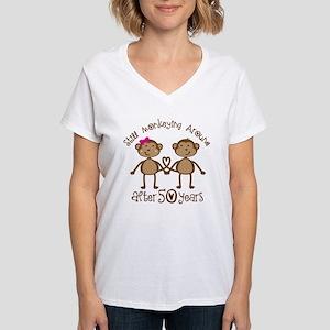50th Anniversary Love Monkeys Women's V-Neck T-Shi